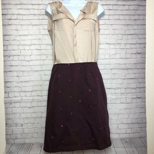 Ann Taylor Loft Maroon Skirt with Pink Flowers
